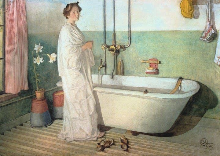 Carl Larsson Lisbeth Prepares A Bath 1909 Sweden Art Nouveau Cent
