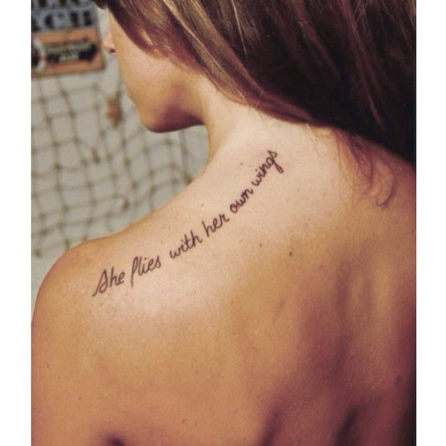 'She flies with her own wings' #tattoo#tattooideas#girlstattoos#smalltattoos#quotetattoo