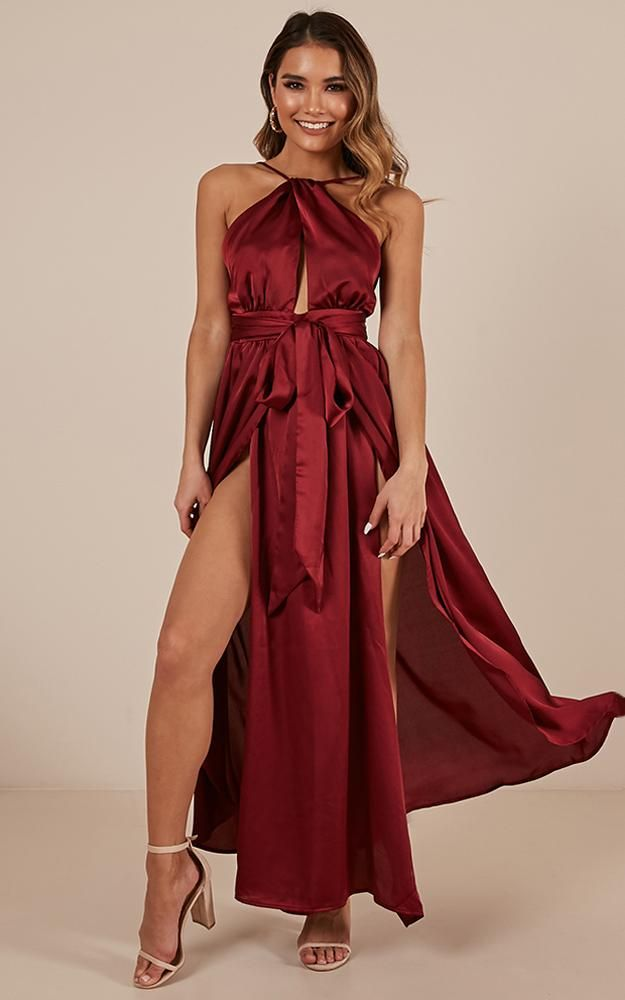 3caf9b5d6cc Stroke Of Luck Maxi Dress in wine Produced By SHOWPO