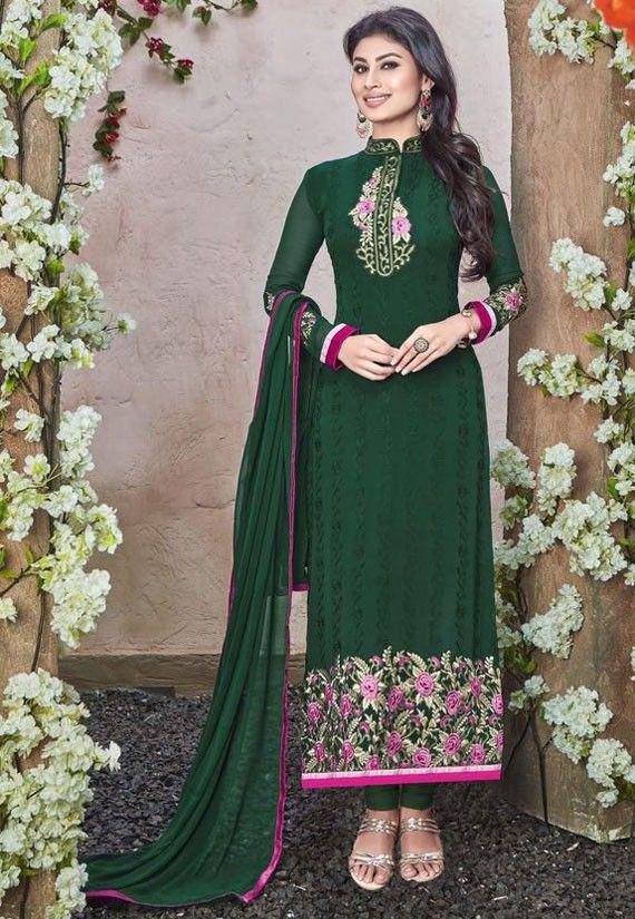 Mouni Roy Bottle Green Straight Fit Suit - Salwar Kameez - Women