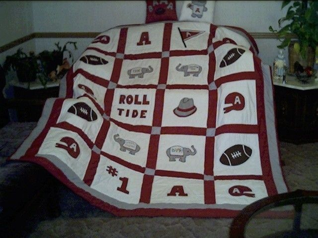 This is an Alabama Football quilt I was asked to make many years ago. I still use the basic quilt pattern but I have several variations of it. I started out making Alabama and Auburn football quilts about 30 years ago, learning from my Mom and I am still using the original patterns.