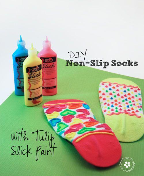 DIY Non-Slip Socks Kids Craft - onecreativemommy.com