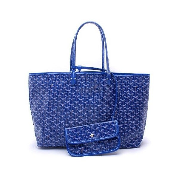Goyard Saint Louis Tote Bag Reference Guide featuring polyvore, women's fashion, bags, handbags, tote bags, goyard handbags, blue tote bag, goyard tote, blue tote and blue purse