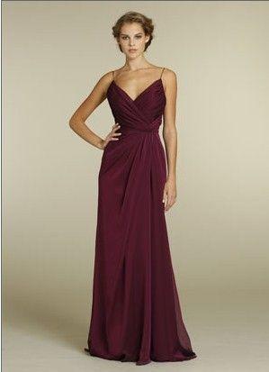 Spaghetti straps long chiffon burgundy empire pleated sleeveless floor Bridesmaid Dress BD249265