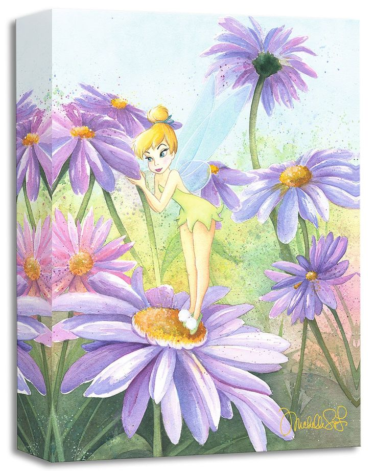 Peter Pan - Delicate Petals - Tinkerbell - Gallery Wrapped - Michelle St. Laurent - World-Wide-Art.com - #disney #michellestlaurent #disneytreasuresoncanvas #gallerywrapped #peterpan #tinkerbell