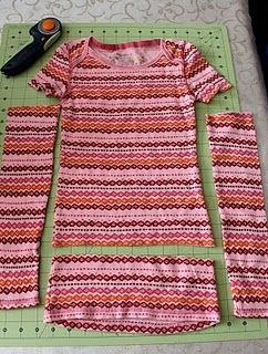 Re-purposing a girls shirt into a toddler dress and legwarmers! (fyi- I would leave more length on the dress)