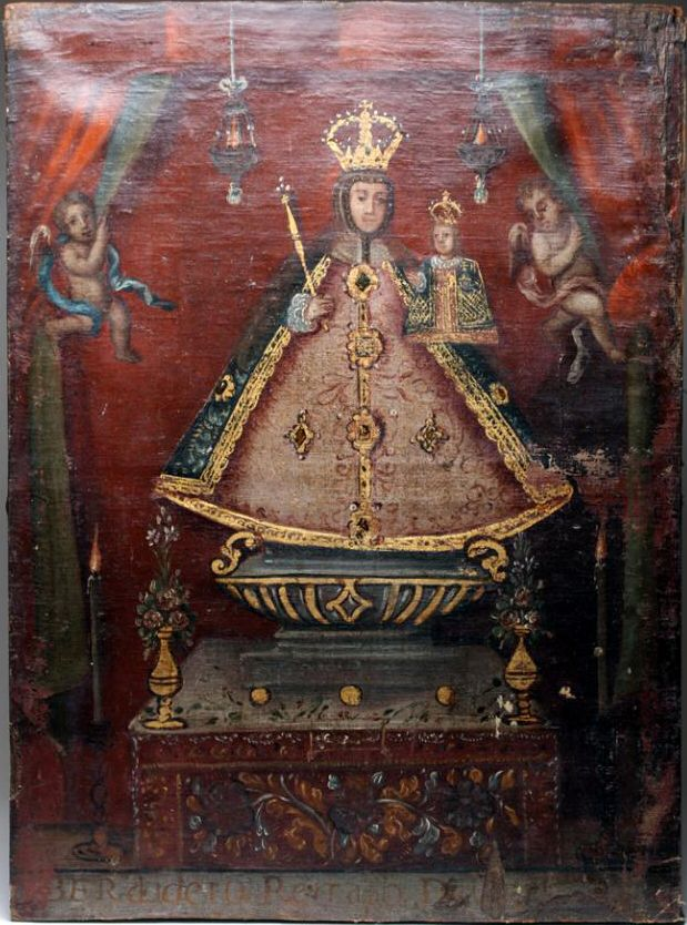 Spanish Colonial painting from the collection of James Caswell. Our Lady of Los Remedios