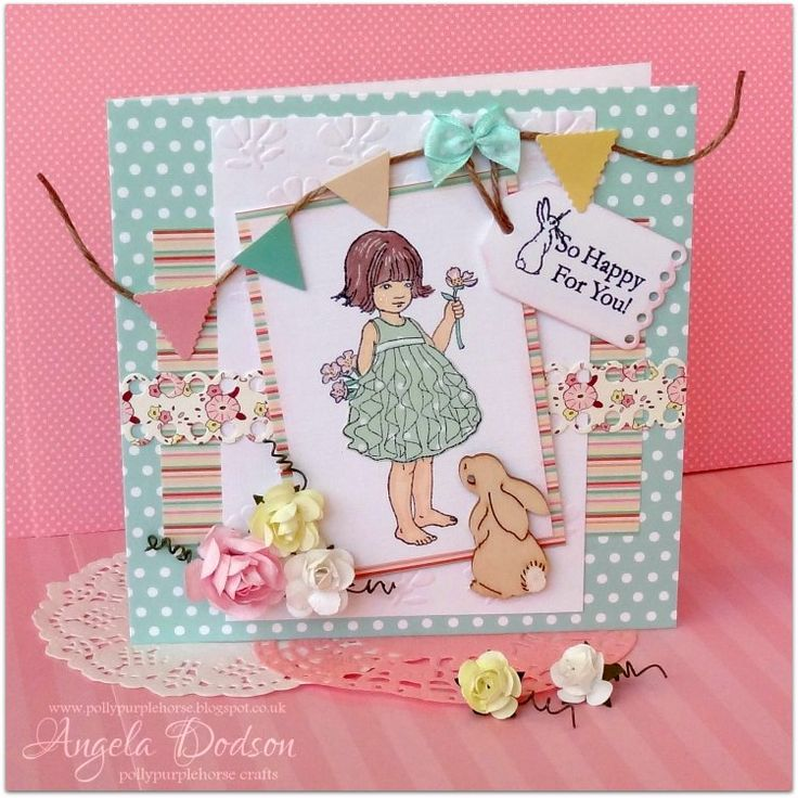 Belle & Boo 'so happy for you' stamped card designed 7 handmade by Angela Dodson for Trimcraft using the Belle & Boo collection - more details here: http://www.trimcraft.co.uk/projects/117366/belle-boo-so-happy-for-you-card