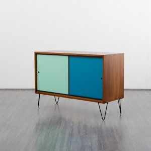 storage Small 1960s walnut sideboard with coloured fronts and hairpin legs Karlsruhe Velvet-Point