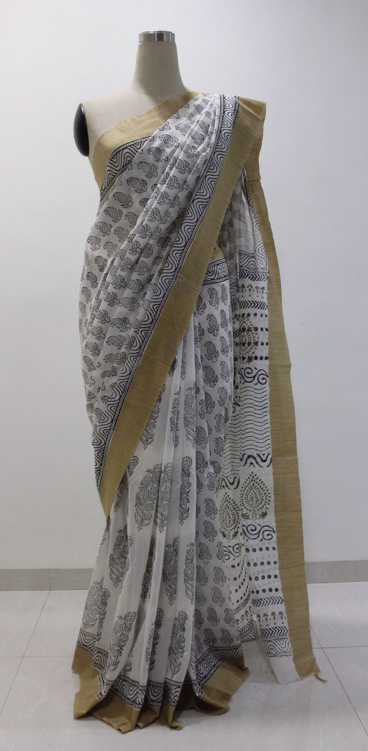 Offwhite and Black hand block printed chanderi saree..To Buy this beautiful saree drop a message