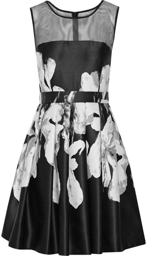 Halston Heritage Floral-print satin-twill dress