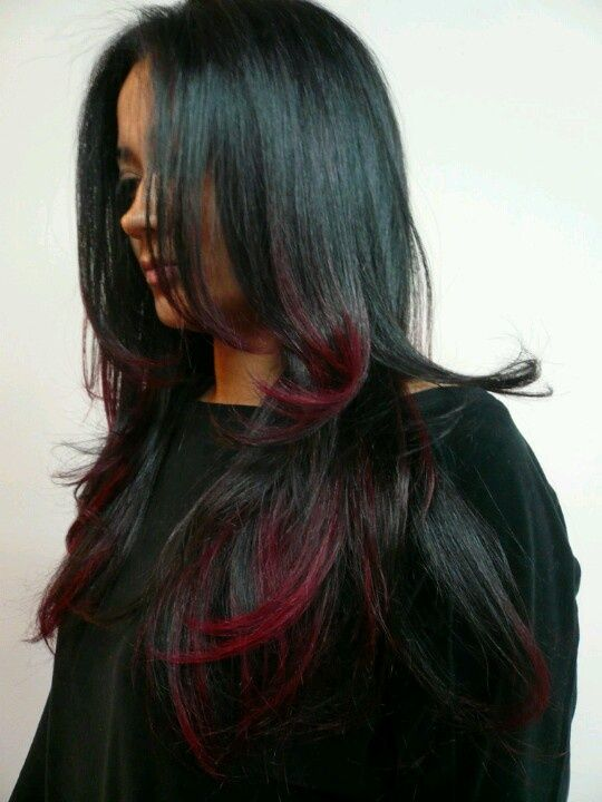 This gorgeous black to red ombre hair was created by ...  This gorgeous b...