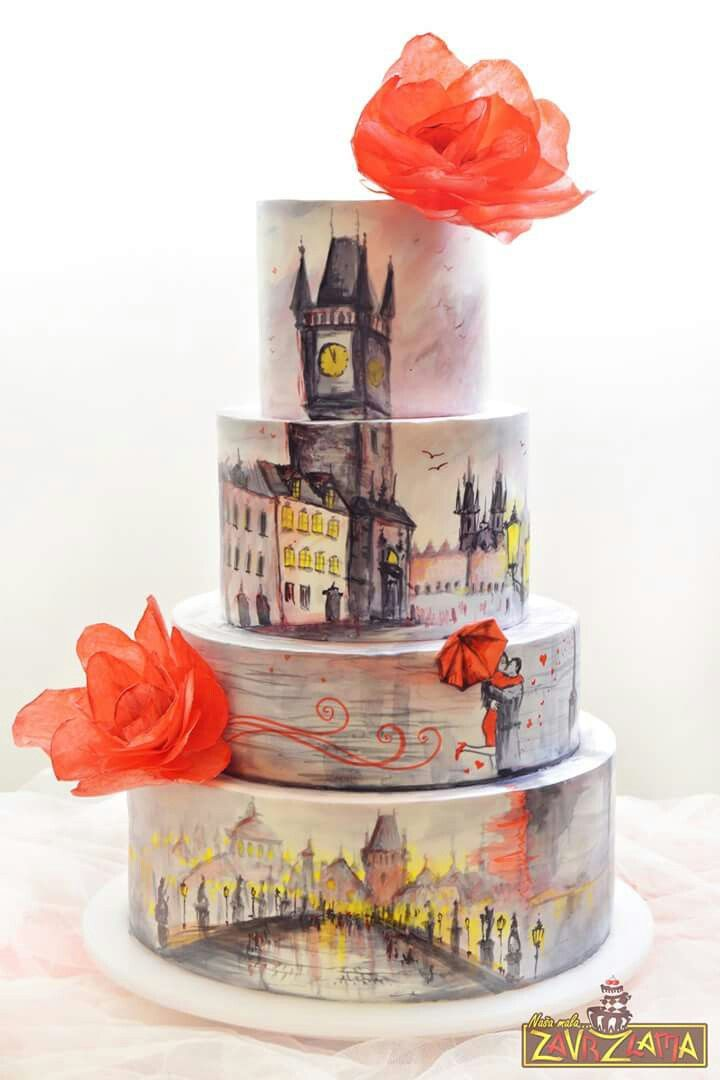 What an amazing, hand-painted cake in shades of yellow and grey, with orange wafer paper flowers.