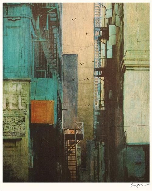 weandthecolor: Inspiring Visual Arts  A selection of urban and architecture inspired mixed media paintings by Liz Brizzi. The artworks are available for purchase on Etsyas fine art reproductions,signed by the artist.  more on WE AND THE COLORFacebook//Twitter//Google+//Pinterest