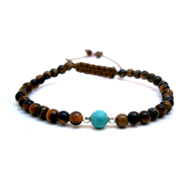 Adjustable bracelet tiger eye and turquoise magnesite, semi precious stones, with silver.