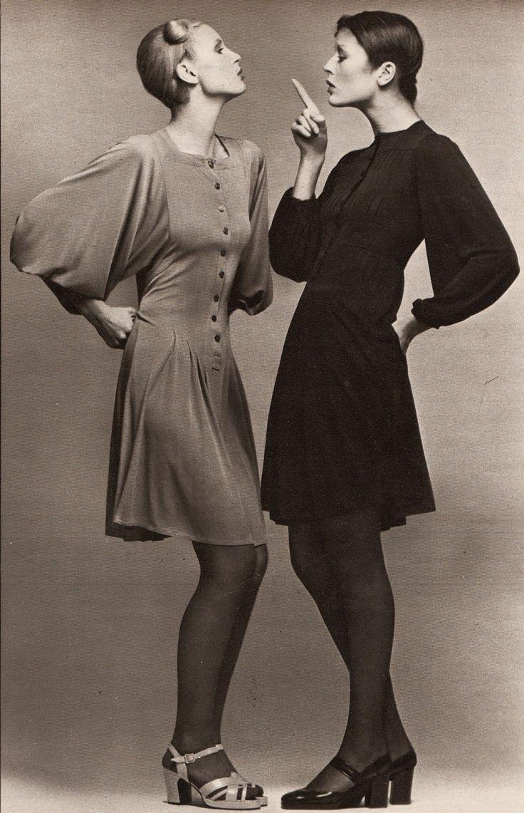 Marie Claire - March 1972: NOTRE PALMARES DES REUSSITES: AUDACE ET RAFFINEMENT /  Left: dress - Jean Muir, shoes - Tilbury / Right: dress - Jean Muir, shoes - Charles Jourdan