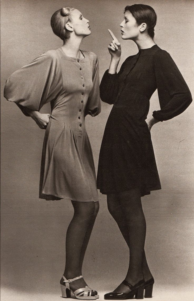 Marie Claire - March 1972: NOTRE PALMARES DES REUSSITES: AUDACE ET RAFFINEMENT / Left: dress - Jean Muir, shoes - Tilbury / Right: dress - Jean Muir, shoes - Charles Jourdan