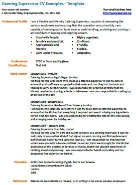 catering supervisor cv example | Learnist.Org, | Pinterest