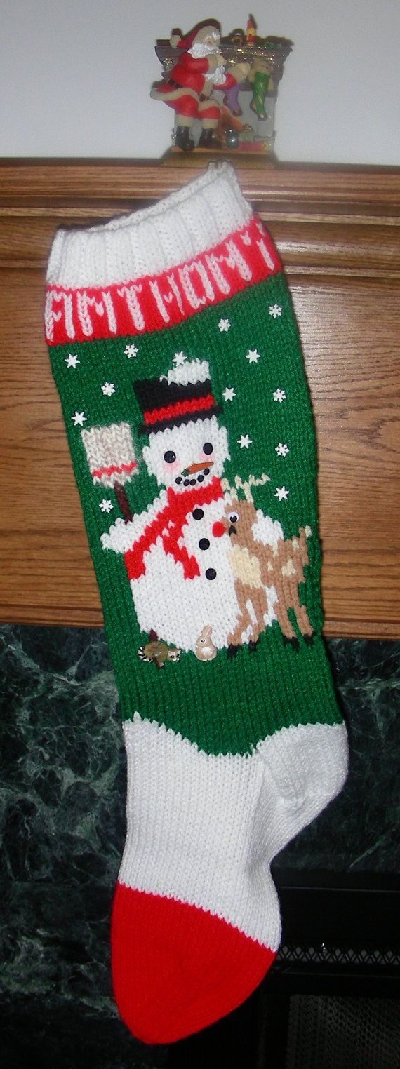Knitted Christmas Stocking Pattern Frosty by KnittedXMasStockings
