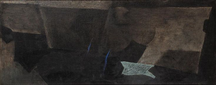 Jiri John, Smoking Ground (Kourici zeme), 1963, oil on canvas, 55 x 135 cm