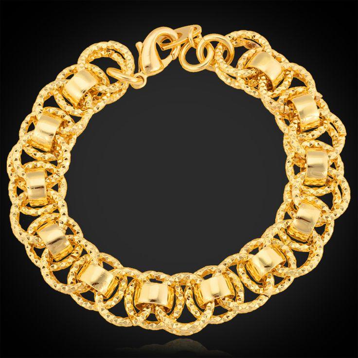 Bracelets For Women Men Jewelry Platinum/Yellow Gold Plated 13MM 21CM Hot Fashion Bracelets  Bangles H368