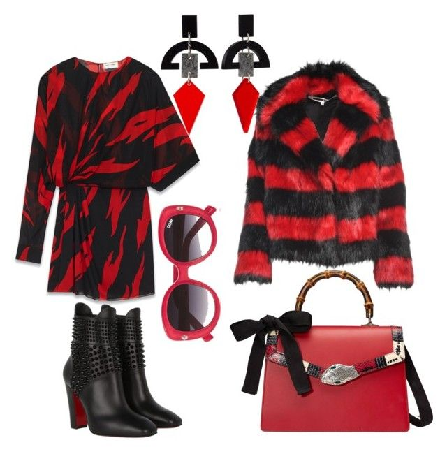 Untitled #686 by cathatin on Polyvore featuring polyvore, fashion, style, Yves Saint Laurent, McQ by Alexander McQueen, Christian Louboutin, Gucci, Toolally, Quay and clothing