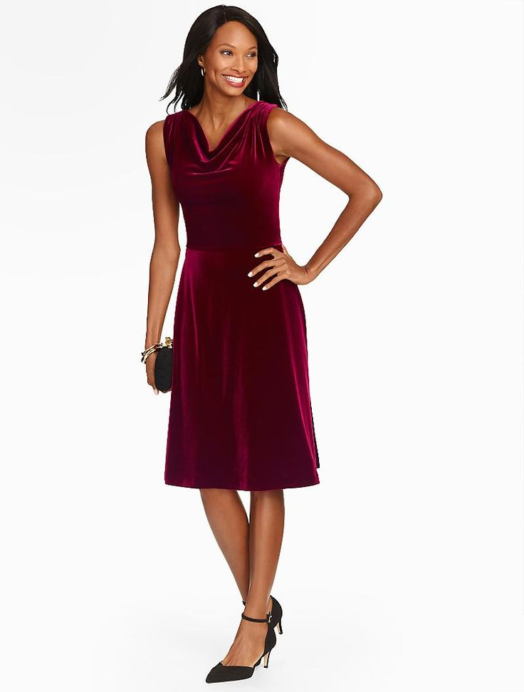 Talbots draped neck velour fit flare dress occasion for Talbots dresses for weddings