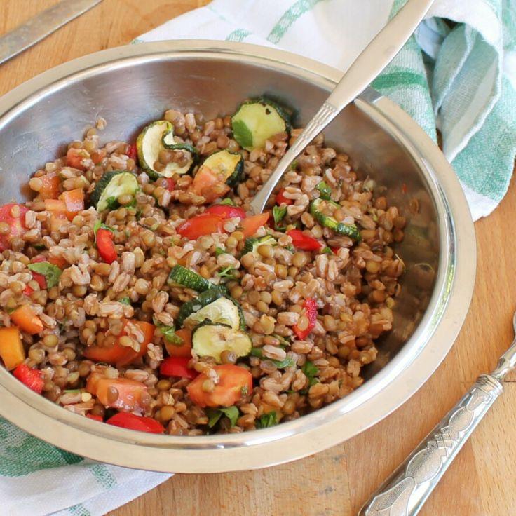 INSALATA DI LENTICCHIE FARRO ricetta insalata vegana fredda light