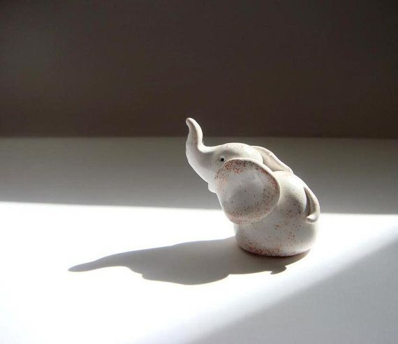 Baby Elephant Figurine, Tiny Animal Hand Sculpted Figurine
