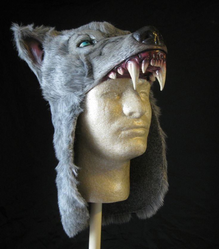 Gray Wolf Hat Savage Costume Caveman Wildling Adult Latex Halloween Hat