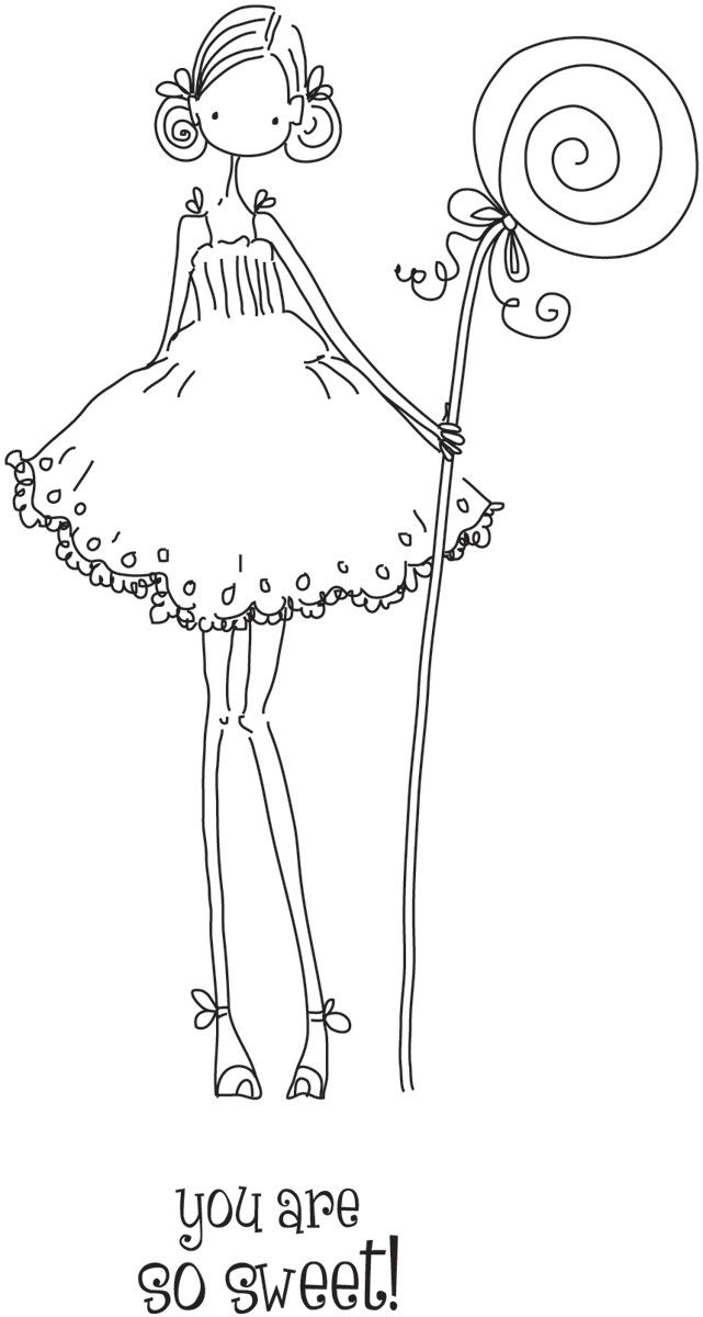 Girl Rubber Stamps | ... Girl Claudia Has A Candy Stamping Bella Unmounted Rubber Stamp LL132