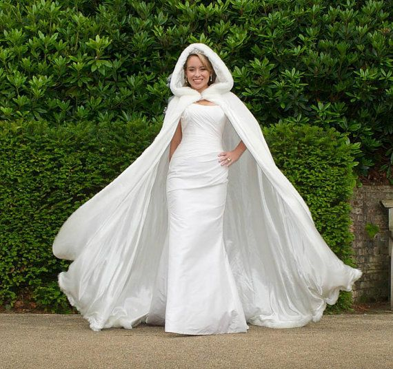 Winter White Wedding Cloak Hooded with Fur Trim by YourWeddingMall, $149.00