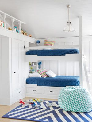 """Nautical Kids' Room In one of the California home's kids' rooms, navy bedspreads from Bed, Bath & Beyond and a chevron rug by Serena & Lily suggest """"nautical"""" without going overboard. The beanbag is a PBteen score.    Read more: Tropical Leaf Print Bedroom Wallpaper - Bedroom Design Ideas - Country Living"""