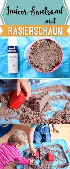 Kinetischer Sand, ganz einfach mit Rasierschaum!