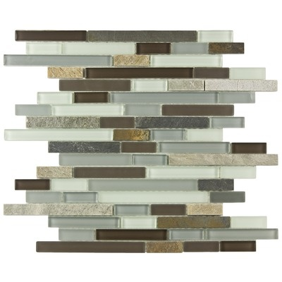 "EliteTile Sierra 12"" x 11-3/4"" Piano Glass and Stone Mosaic Wall Tile in Tundra"