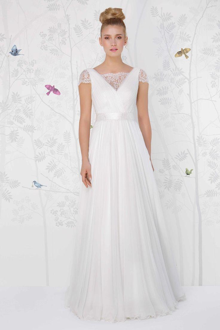 SADONI wedding dress LEBEAU with rustic French lace and flowy silk chiffon