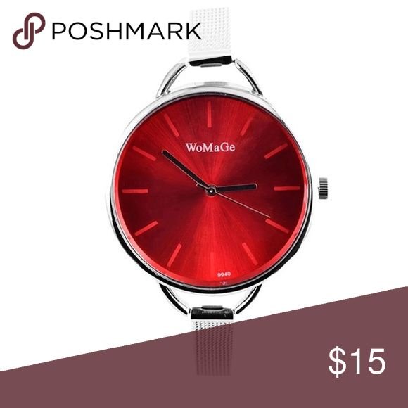 High Quality Watch New trendy watch, silver with red color. Excellent Quality!  Color as seen in last picture. Adjustable. Material: stainless steel strip and case. Band length: min 6.5inch, max 8.5inch. Dial diameter:  1.5 inch. Price is for LIMITED TIME !! Accessories Watches
