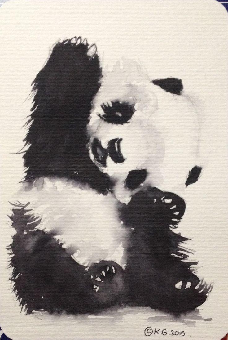 Panda ! Mignon petit panda joueur. Carte postale aquarelle : Peintures par katia-golessi-les-toiles-de-katia