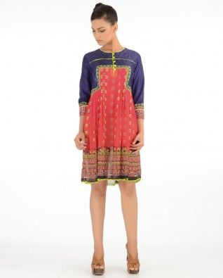 Red Tunic with Print Work  #Exclusivelyin #IndianEthnicWear #IndianWear #Fashion #kitsch #banjaracollection #tunic