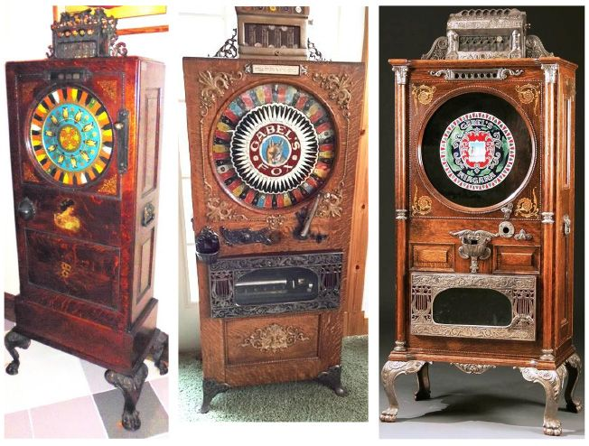 Gabel's Upright Machines, left to right: Owl (Jasper SanFilippo collection); Fox with Swiss music box, and a Niagara, case only (both from the Larry Debaugh collection)