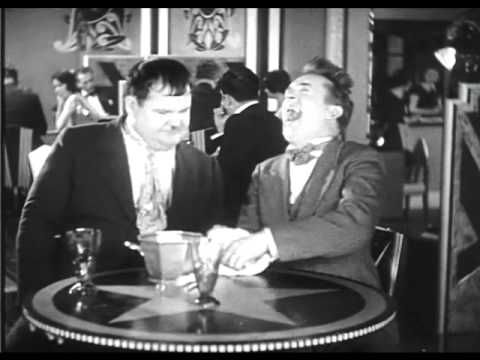 Laurel and Hardy can't stop laughing