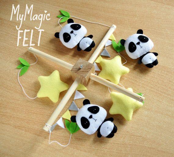 Baby mobile Panda und Sternen Krippe mobile von MyMagicFelt auf Etsy