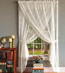 lace window treatment for dining room, with pleated shade under/behind