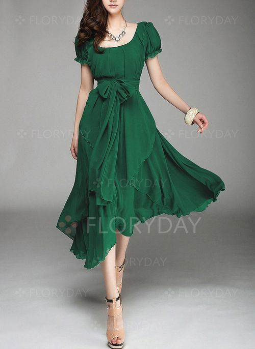 Dresses - $32.81 - Polyester Solid Short Sleeve Mid-Calf Casual Dresses (1955101209) pretty