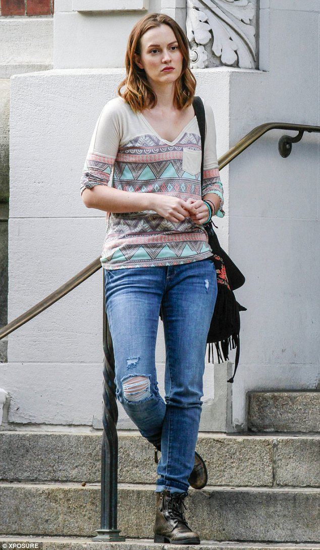 Leighton Meester idles between takes on the New York set of forthcoming film…