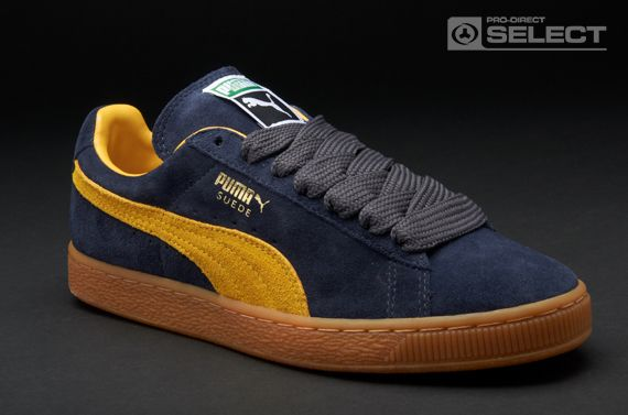 Puma Trainers - Suede Classic Eco - Mens Trainers - Team Charcoal - Mineral Yellow