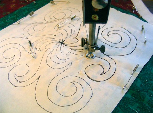Continuious Line Quilting - Did you know you can use a photocopier to enlarge or shrink a continuous line quilting pattern? When your design is the size you want, transfer the sketch on to tear-away stabilizer and quilt directly onto fabric.