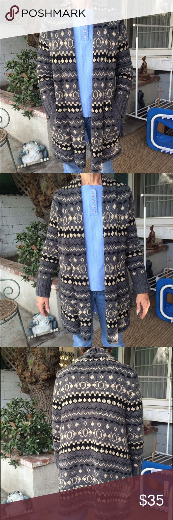 Nice cardigan Tribal Native American like new sweater guest fits size small /m / 6 but tag says medium Charter Club Sweaters Cardigans