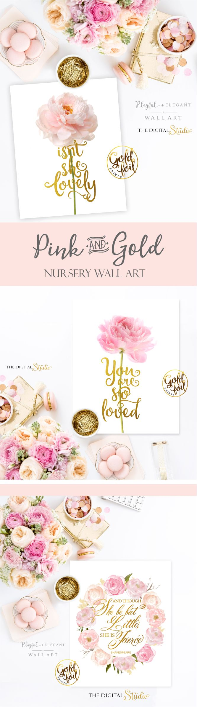 Pink and Gold Nursery Wall Art. I love the shine of the gold foil lettering combined with the soft pink tone of the flowers. These prints will be a wonderful addition to your wall gallery.