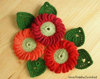 Crochet Daisy Flowers Summer White Yellow Orange by AnnieDesign